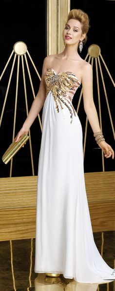 Billionaire Club / karen cox. The Glamorous Life.  Alyce 2014 White Gold Strapless Sweetheart Beaded Elegant #Gown