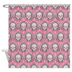 Pink Vintage Skulls Shower Curtain on CafePress.com