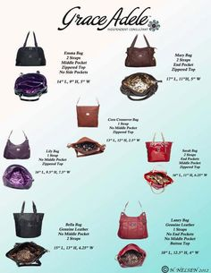 """Each bag has a """"smart"""" interrior. Why spend hundreds on a purse from Coach when you can spend a fraction on a Grace Adele purse (did I mention they are designed by top Coach designers?) to order yours, visit https://tonileeann.graceadele.us"""