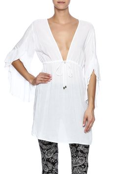 White beach cover-up with 3/4 bell sleeves and a waist tie.   Sexy Beach Cover-Up by Elan. Clothing - Swimwear - Cover Ups Ohio