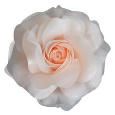 Sara Monica Flower Hair Clip and Pin: Snow Rose: Made in the USA (Light Peach) *** Click image for more details.