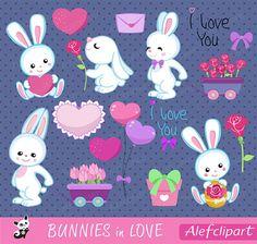 50% OFF SALE Bunnies in love Digital Clipart Set por Alefclipart