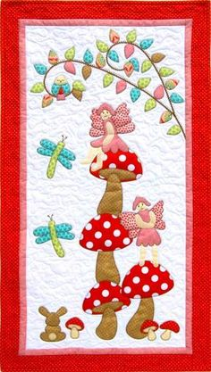 Woodland Fairies- by Kids Quilts - Wall Quilt Pattern - Click Image to Close Quilt Baby, Baby Quilt Patterns, Sewing Patterns For Kids, Baby Applique, Applique Quilts, Patchwork Quilting, Cute Quilts, Mini Quilts, Quilting Projects