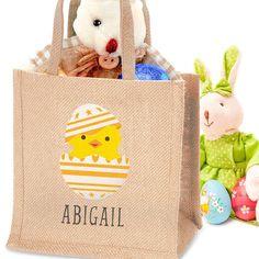 Personalised Easter Chick Jute Bag