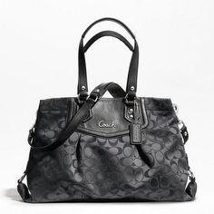 COACH ASHLEY SIGNATURE CARRYALL, Style #F19244, Sv/Black grey/Black | eBay