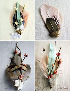 Брошки с перьями
