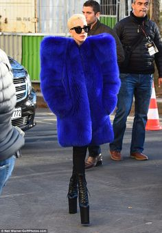 Stopping traffic: While she was simply heading to rehearsals on Tuesday, the always-overdressed Lady Gaga chose a head-turning look