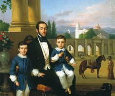 """ca. 1852 - """"Portraits of Anacleto Polidura and his sons"""" - where Don Anacleto and his eldest sons Santiago and Luis Gonzaga appear (Mexico City) - by Éduard Pingret (French, 1788-1875. Collection of National Bank of Mexico."""