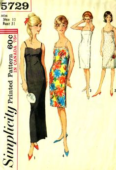 Simplicity 5729 Spaghetti Strap Slip Dress circa by PatternPeddler (Craft Supplies & Tools, Patterns & Tutorials, Sewing & Needlecraft, Sewing, vintage pattern, maxi length, sewing pattern, lingerie, full slip, fitted slip, underwear, evening length, size 10, 60s)