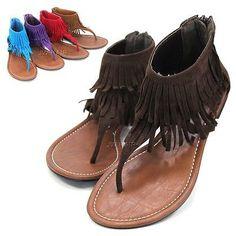 New Womens Fringe Gladiator T-Strap Thong Flats Sandals Flip Flops Shoes