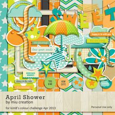 *Freebie* April Shower Free Digital Scrapbooking Kit from Miu Creations