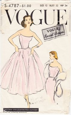 cocktail dress Vogue evening ball gown Vintage Sewing Pattern slim or full skirt strapless bustier Bust 32 34 36 38 reproLate ball gown or slim fitting evening dress pattern. One piece dress with tie-on skirt. Slim two piece skirt joins bare top bodi 40s Wedding Dresses, Vintage Dresses, Vintage Outfits, 1950s Dresses, Vintage Clothing, 50s Clothing, Pink Dresses, Elegant Dresses, Vogue Vintage