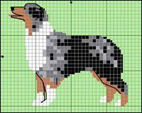 Australian Shepherd Border Collie Tricolor, Border Collie Blue Merle, Australian Shepherds, Mini Cross Stitch, Cross Stitch Animals, Pixel Art, Cross Stitch Patterns, Quilt Patterns, Dog Chart