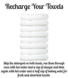 Over time, towels build up detergent and fabric softener, leaving them unable to absorb as much water. I use baking soda and fill the fabric softener dispenser with vinegar. Only have to wash once, and works with cold water too! Casa Clean, Clean House, Cleaning Solutions, Cleaning Hacks, Deep Cleaning, Cleaning Recipes, Cleaning Supplies, Laundry Solutions, Cleaning Schedules