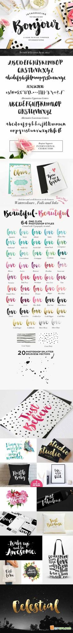 Creativemarket Bonjour! Typeface with Extras 221972