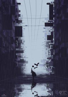 Lonely city artwork. Sci fi, cyberpunk illustration designed during the quarantine days. City Illustration, Fantasy Illustration, Landscape Illustration, Rainy City, Dark City, City Landscape, Rest Of The World, City Art, Cyberpunk