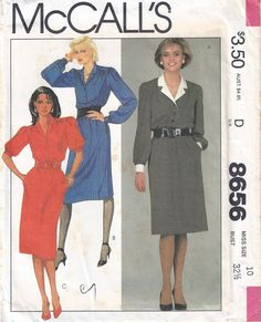 1983 McCalls 8656 Pullover Dress Pattern Size 10 by BettysBuys