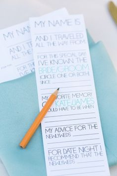 Fill-in-the-blank notes from guests | Photo by Hunter Ryan Photo {Florida} via Every Last Detail