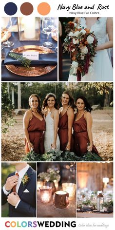 Top 8 Navy Blue Fall Wedding Color Combos Navy Blue + Rust Wedding: rust bridesmaid dresses, navy suit and rust tie and boutonniere, rust wedding plate with navy napkin, mix rust with white flowers in bridal wedding bouquets. Copper Bridesmaid Dresses, Bridesmaid Dress Colors, Wedding Color Combinations, Color Combos, Costume Bleu Marine, Wedding Color Pallet, Blue Suit Wedding, Boutonniere, Marie