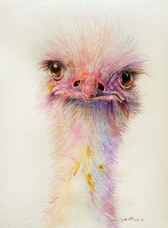 Ozzy the Ostrich, Watercolor painting by Arti Chauhan | Artfinder