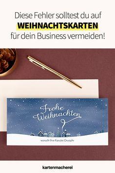 Vermeide diese Fehler in deinen Weihnachtstexten auf deiner geschäftlichen Weihnachtskarte, damit die Karte ein voller Erfolg wird! Mit diesen Tricks wird deine geschäftliche Karte zu Weihnachten ein Erfolg und bindet deine Kunde nachhaltig an dich! Gestalte mit Hilfe unserer Textbausteine eine professionelle Business Weihnachtskarte für deine Kunden - egal ob du Entrepreneur oder Mittelständler bist! Tricks, Branding, Movie Posters, Christmas Is Coming, Custom Holiday Cards, Company Christmas Party Ideas, Brand Management, Film Poster, Identity Branding