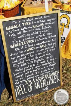 Georgia Tech Fight Song Chalkboard Sign - Tailgate Decor