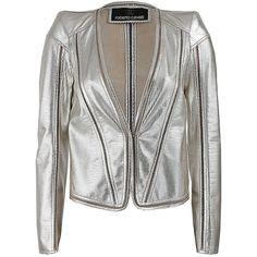 Roberto Cavalli Long Sleeve Metallic Leather Jacket ($2,385) ❤ liked on Polyvore