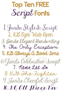 Top Ten Free Script Fonts -- Curated by : Rapid Printing Kelowna 129-1889 Springfield Road Kelowna,BC V1Y 5V5 (250) 860-2200