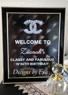 CoCo Chanel Classy and Fabulous 8x10 Black Leather Welcome to My Party Sign Silver Logo