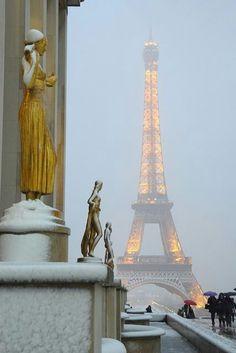Snowy night, Paris, France