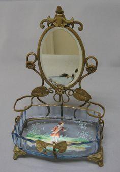 "Antique ""Mary Gregory"" Type Enameled Glass Dresser Bowl & Mirrored Bronze Frame | eBay"