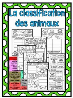 This resource is in French, and includes a 7-page, illustrated black-line master about the different animal classifications. All of the vertebrate groups (reptiles, mammals, fish, birds, amphibians) are featured on their own pages, and have boxes for eight characteristics each.