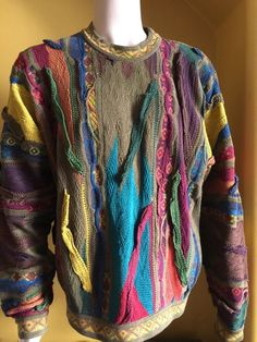 Mint Vintage Coogi Sweater Multicolored Men's Large Biggie Smalls 3D #COOGI #Crewneck