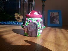 Tea light holder toadstool house :)