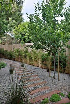 Rail road tie path in gravel. Add dense plantings on either side. Gravel Garden, Garden Fencing, Garden Paths, Modern Landscaping, Yard Landscaping, Small Gardens, Outdoor Gardens, Garden Landscape Design, Plein Air