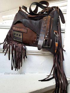 Brown distressed leather bag few tones fringe fringed hobo
