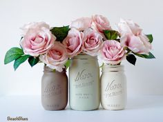 rustic home decor, centerpiece, vase, earth tones, neutral home, table decor, mason jar  ***PROCESSING TIME IS 3-4 WEEKS BEFORE SHIPMENT. SHIPPING TAKES 2-3 DAYS FOR US STATES ***  These gorgeous mason jars are hand-painted by me and distressed for a shabby chic, cottage and beach feel. They are perfect for garden parties, showers, weddings and more. You may use water and fresh flowers in them as they are only painted on the outside.  This listing is 3 jars. The colors are dark taupe, olive…
