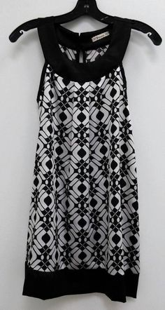 Forever Size Small Black White A-Line T-neck Geo Silky Dress B261 #forever #aline