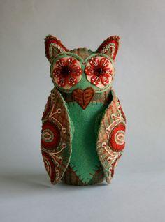 wool folk art embroidered owl pattern buy new zealand - Google Search