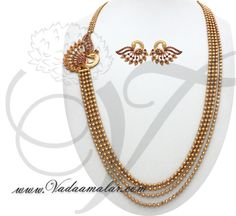 Peacock design side pendant step necklace chain mugappu for Sarees Details : https://www.vadaamalar.com/peacock-deign-pendant-chain-7625.html