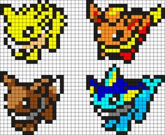 Eevee Evolutions Gen 1 by WhiteOuT on Kandi Patterns Fuse Bead Patterns, Kandi Patterns, Perler Patterns, Beading Patterns, Perler Bead Designs, Perler Bead Art, Pyssla Pokemon, Pokemon Perler Beads, Pearler Beads