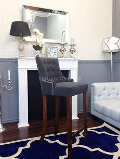 Krzesło tapicerowane pikowane barowe nowoczesne do jadalni SZARE TIFFANY HOKER