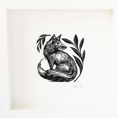 ARTFINDER: Fox by Cally Conway - A handmade black and white linocut, printed in rich black ink. Printed on heavyweight Fabriano Rosaspina archival paper that does not age with time. Part of ...