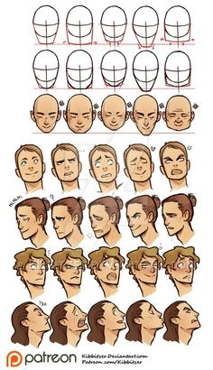 I'm improving and colouring some of my reference sheets and tutorials because the printed drawing manual is almost ready! Face shapes and Facial expressions reference sheet Drawing Heads, Guy Drawing, Drawing People, Drawing Face Shapes, Drawing Male Hair, Drawing Men Face, Drawing Tricks, Cartoon Head, Cartoon Faces