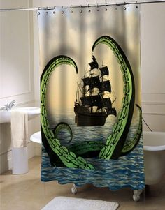 Cool Nautical Shower Curtain Octopus vs. Pirate Ship shower curtain customized design for home decor