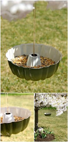 recycled bundt pan bird feeder