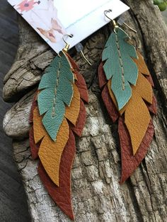 handcrafted-leather-dangly-earrings-each-feather-is-individually-cut-and-sewn-b/ - The world's most private search engine Dangly Earrings, Diy Earrings, Earrings Handmade, Handmade Jewelry, Leather Accessories, Leather Jewelry, Beaded Jewelry, Jewellery, Leather Diy Crafts