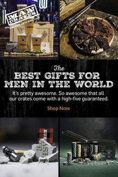 We believe men deserve better gifts. Gifts that stir a primal craze of chest bumps and cheers, not polite half-smiles. We believe gifts should be just as exciting to give as they are to receive; the gifts of water cooler legend. We are Man Crates, and we do awesome gifts for men.  Shop now.