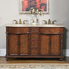 New Silkroad Exclusive Travertine top 48 Inch Double Sink Vanity Cabinet