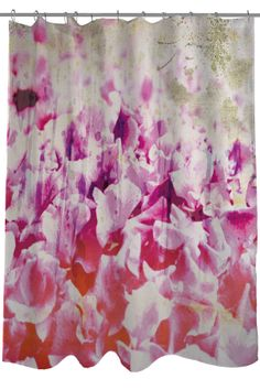 Oliver Gal by One Bella Casa Gold Spring Pink Multi Shower Curtain
